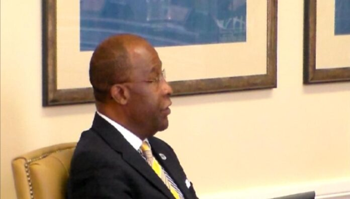 This photo shows Mayor Johnny Dupree Hattiesburg instructing the council to suspend the rules.